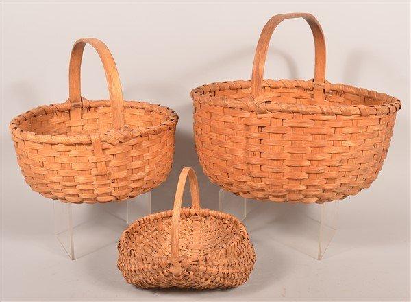 3 Various PA Vintage Woven Splint Baskets. - 2