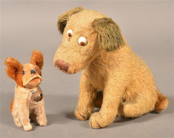 Two Vintage Stuffed Dog Toys.
