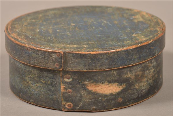 Antique Blue Painted Bentwood Pantry Box. - 2