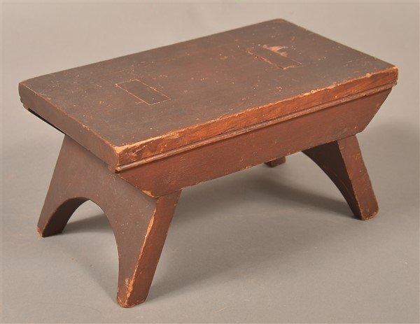 Antique Walnut Min. Stool Signed G. Weiss.