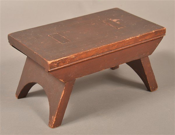 Antique Walnut Min. Stool Signed G. Weiss.