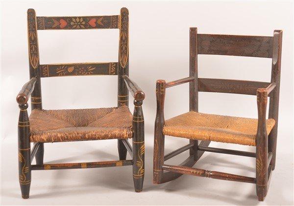 2 19th Century Child's Rush Seat Armchairs.