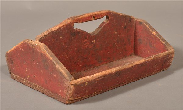 Softwood Utensil Carrier with Original Red Paint.