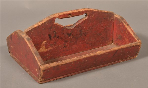 Softwood Utensil Carrier with Original Red Paint. - 2