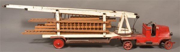 Vintage Wood and Tin Folk Art Ladder Truck.