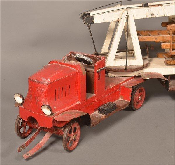 Vintage Wood and Tin Folk Art Ladder Truck. - 2