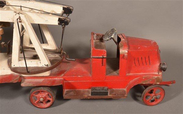 Vintage Wood and Tin Folk Art Ladder Truck. - 3