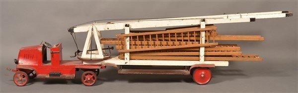 Vintage Wood and Tin Folk Art Ladder Truck. - 4