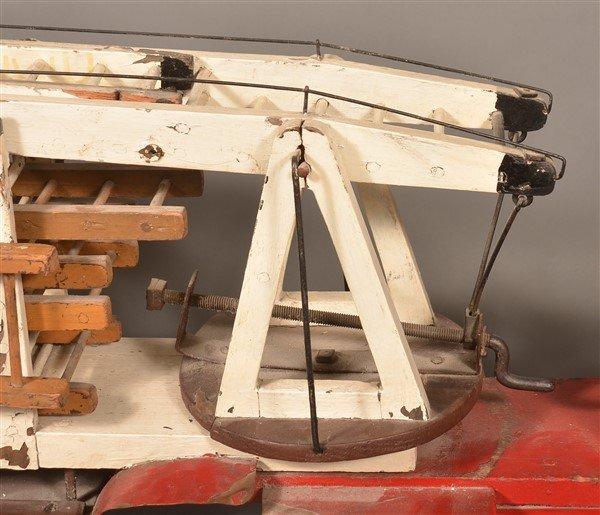Vintage Wood and Tin Folk Art Ladder Truck. - 5