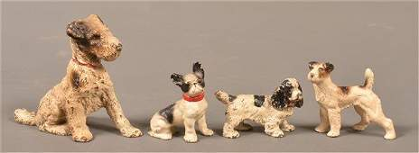 Four Hubley Cast Painted Cast Iron Dog Form Bookend and