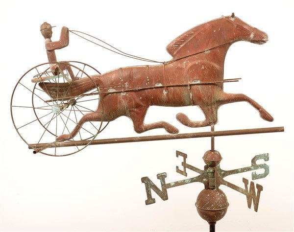 Copper Horse Drawn Sulky Weathervane.