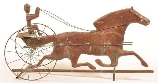Copper Horse Drawn Sulky Weathervane. - 2