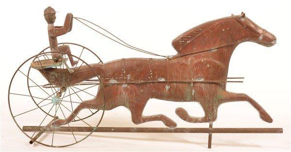 Copper Horse Drawn Sulky Weathervane. - 2