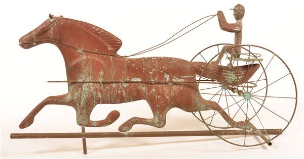 Copper Horse Drawn Sulky Weathervane. - 3