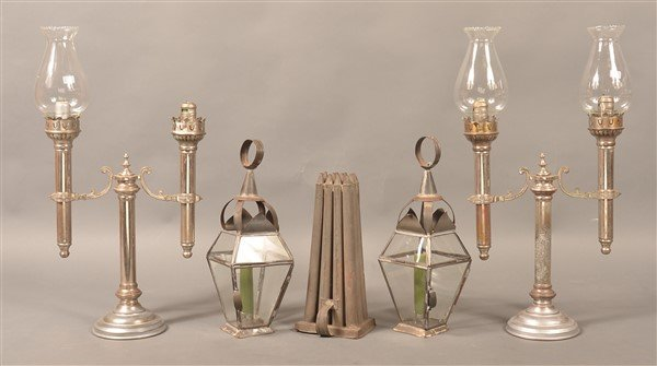 Grouping of Antique and Vintage Candle Lights.