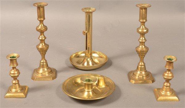 Grouping of Six Antique Brass Candlesticks.