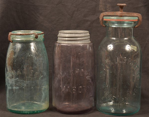 Three Various Antique Glass Canning Jars. - 2
