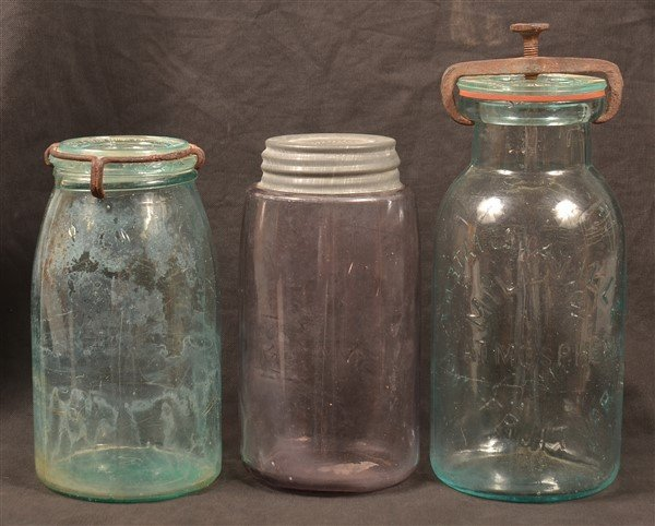 Three Various Antique Glass Canning Jars. - 3