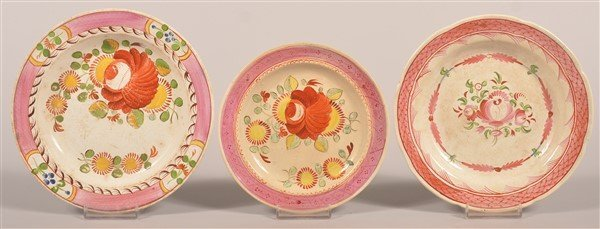 3 Queens and Kings Rose Soft Paste China Plates.