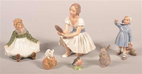 Six Various Copenhagen Porcelain Figurines.