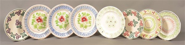 Eight Various Ironstone China Stick Spatter Plates.