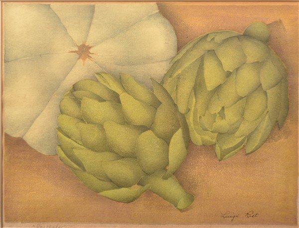 "Luigi Rist ""Scallops"" Color Woodcut on Paper."