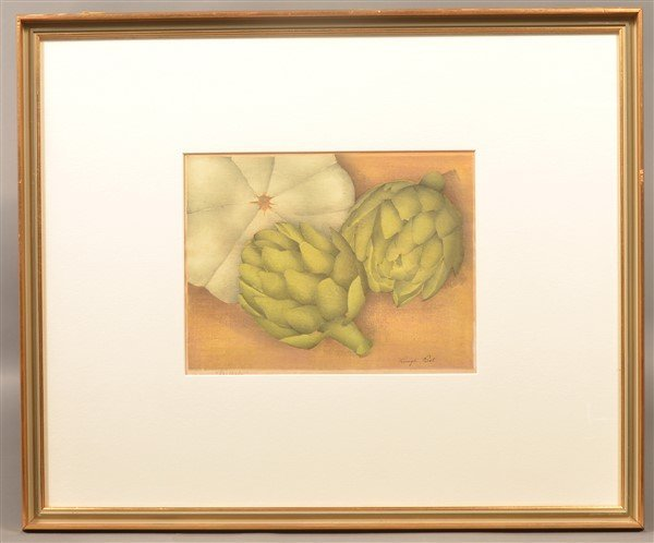 "Luigi Rist ""Scallops"" Color Woodcut on Paper. - 4"