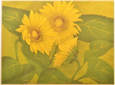 Luigi Rist Sunflowers Color Woodcut on Paper