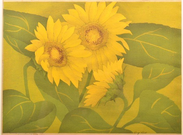 "Luigi Rist ""Sunflowers"" Color Woodcut on Paper."