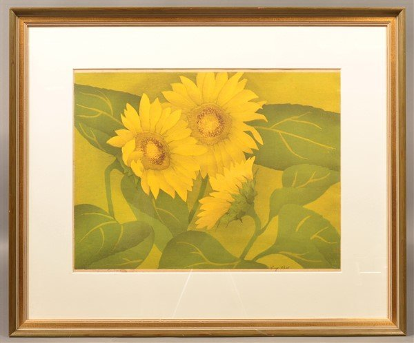 "Luigi Rist ""Sunflowers"" Color Woodcut on Paper. - 4"