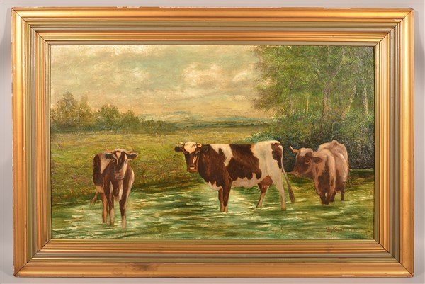 Oil on Canvas Depicting Cows in a Stream.