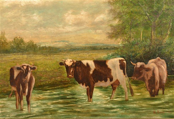 Oil on Canvas Depicting Cows in a Stream. - 2