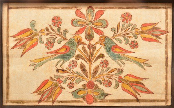 Southeastern PA Fraktur Bookplate with Birds.