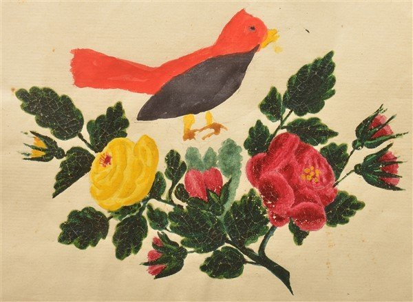 PA 19th Cent. Bird & Floral Watercolor Drawing.