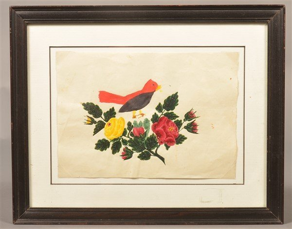 PA 19th Cent. Bird & Floral Watercolor Drawing. - 3