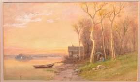 J.A. Beck Watercolor Landscape Painting.