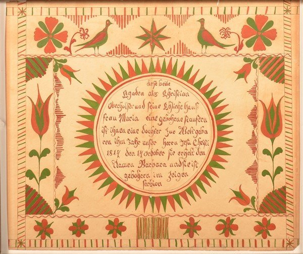 PA Mirror Image Fraktur Birth Record Dated 1814.