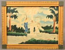 19th Cent. Religious Scene Watercolor Painting.