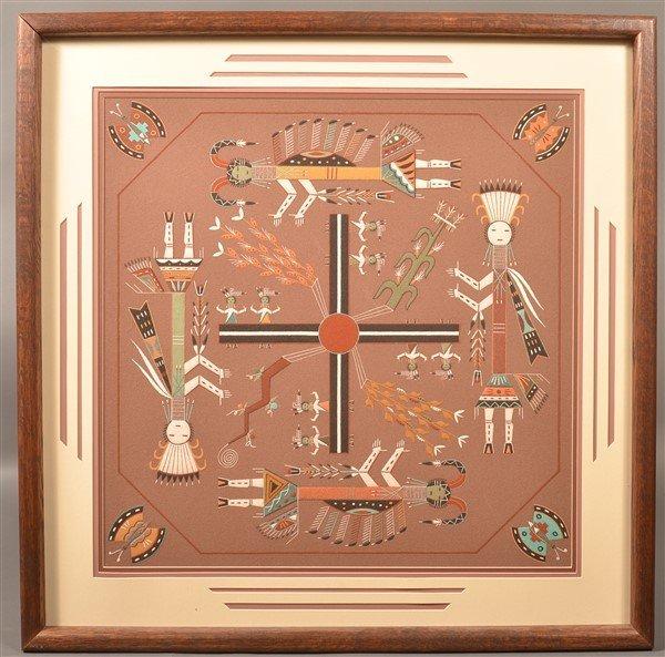 Navajo Ceremonial Yei Dancer Sand Painting.