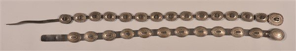 Two Vintage Navajo Sterling Silver Concho Belts. - 2