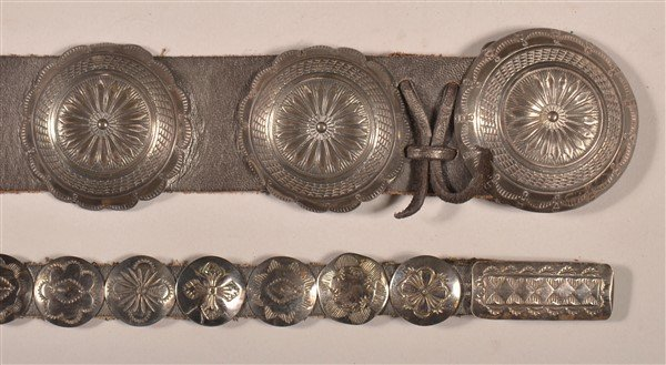 Two Vintage Navajo Sterling Silver Concho Belts.