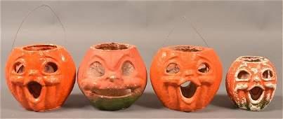 Four Halloween Paper Mache Jackolanterns