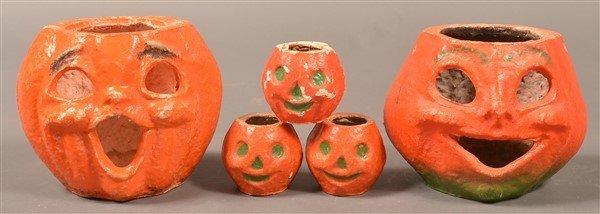 Five Halloween Paper Mache Jack-o-lanterns.
