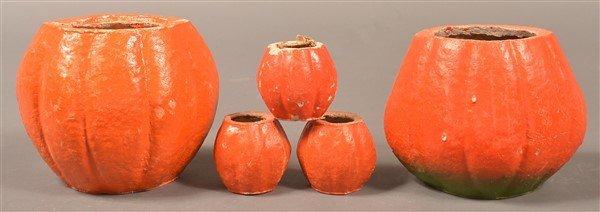 Five Halloween Paper Mache Jack-o-lanterns. - 2
