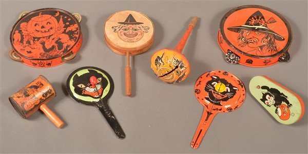Eight Various Halloween Tin Lithograph Noise Makers.