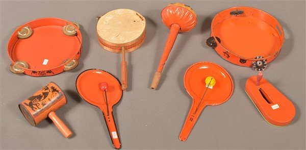 Eight Various Halloween Tin Lithograph Noise Makers. - 2