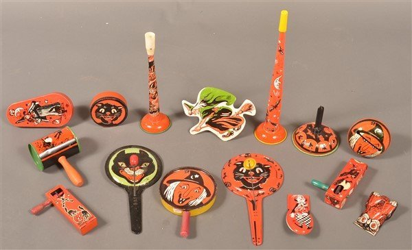 15 Halloween Tin Lithograph Noise Makers
