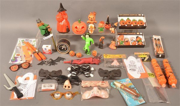 Group of Halloween Candles and Decorations.