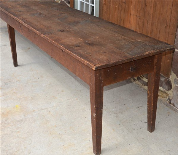 PA Early 19th Century Softwood Harvest Table. - 3