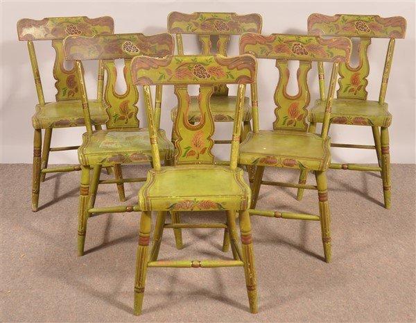 Set of Six PA Boot-jack Back Sidechairs.